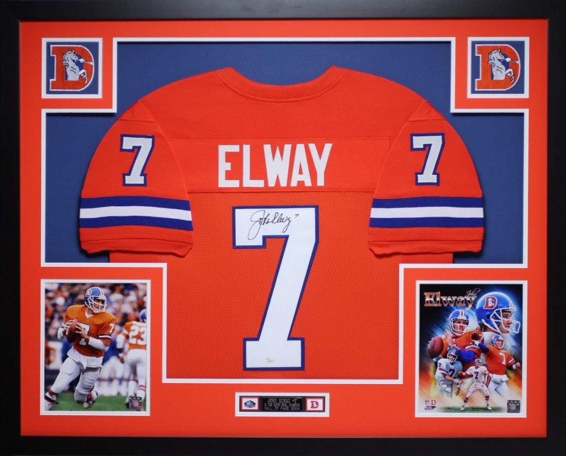 John Elway Autographed and Framed Orange Broncos Jersey