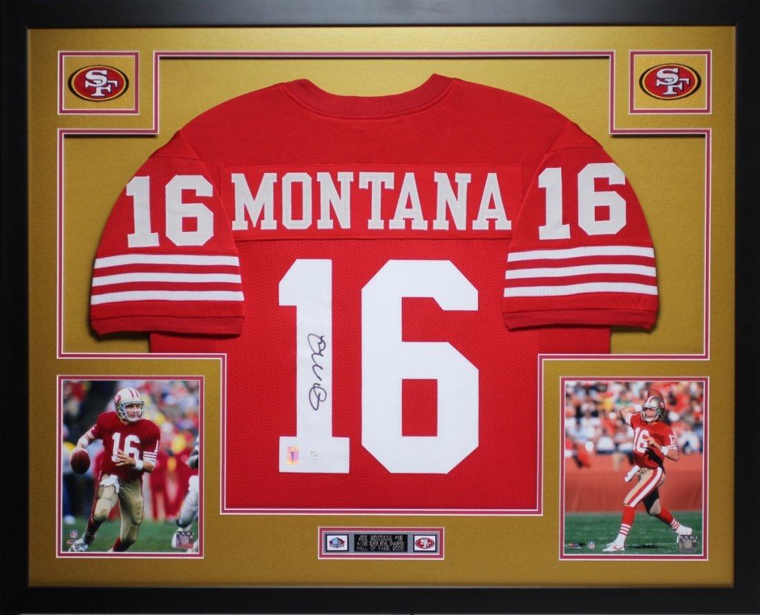 Joe Montana Autographed and Framed Red 49ers Jersey