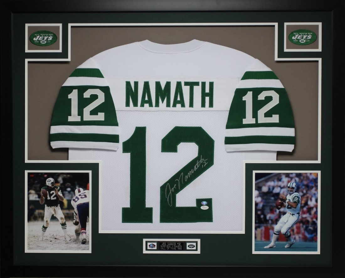 Joe Namath Autographed #12 and Framed White Jets Jersey