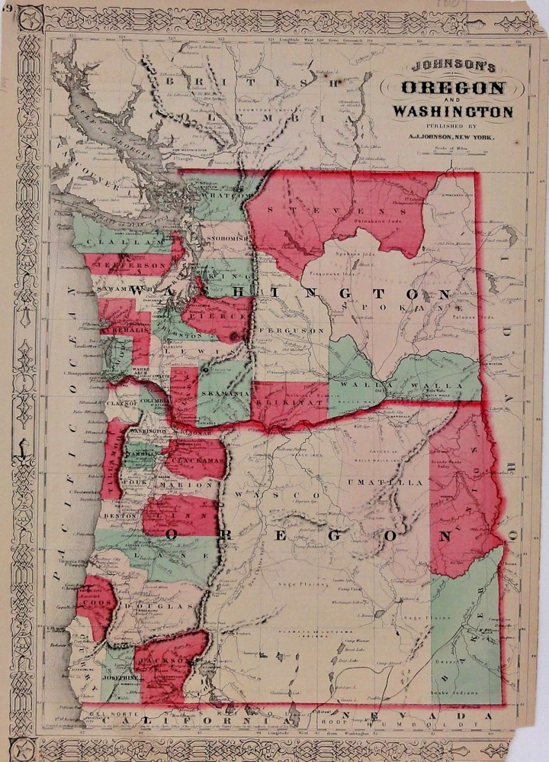 Johnson's Map of Oregon & Washington, 1865