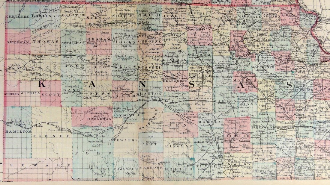 Kansas & Nebraska, by Augustus Mitchell, 1884