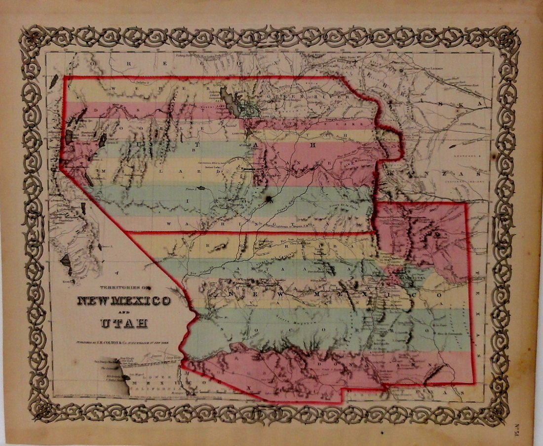 Map of New Mexico & Utah by Colton, 1856 (Rare Find!)