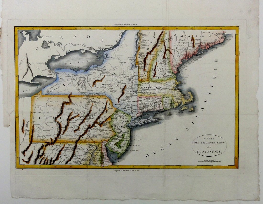 1807 New England Map: New Jersey, Pennsylvania, New
