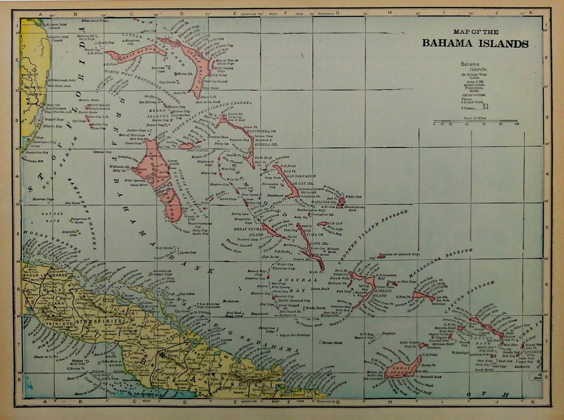 Map of Bahama Islands, 1898