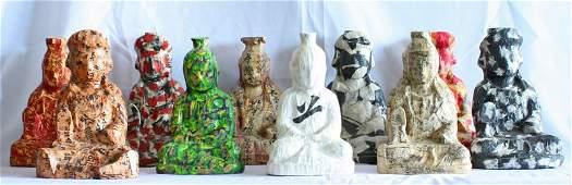 Bodhisattva by Choi Dae Shik, Set of Ten Paper on Wood