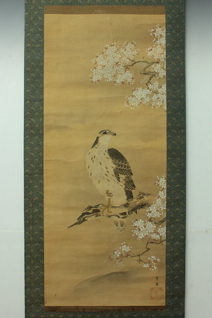 Painting of Hawk Perched on Cherry Blossoms