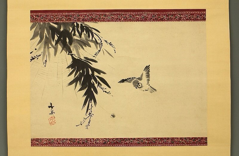 Painting of Sparrow and Spider Attributed to Tani