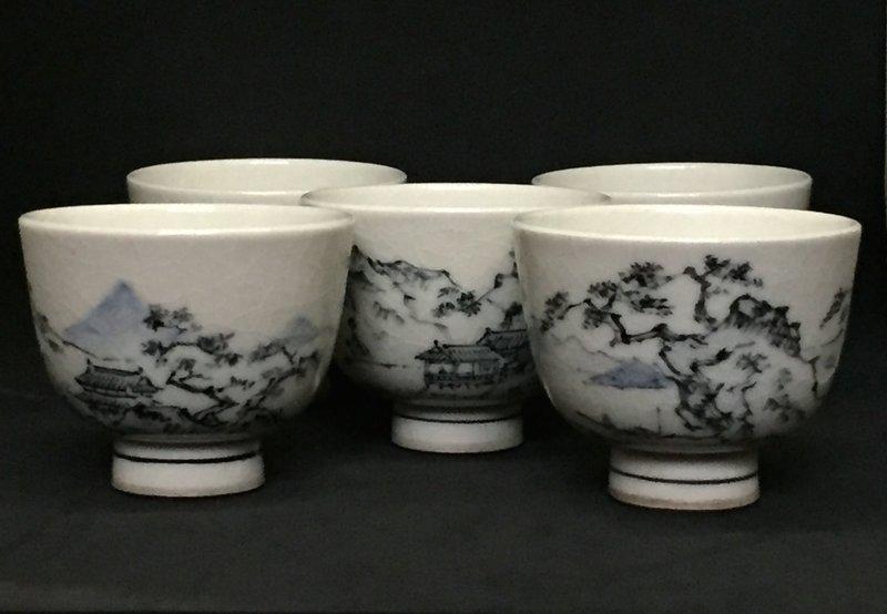 Set of Five Makuzu Kozan Studio Tea Cups