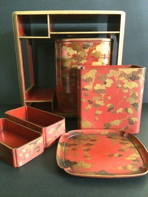 Antique Red Lacquer Lunch Set