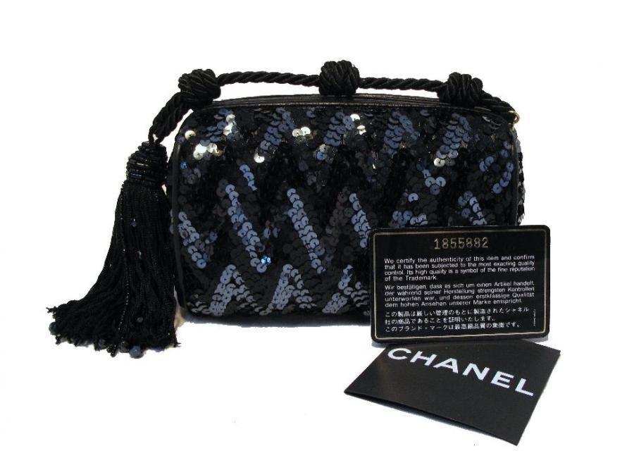 Chanel Paillette Zig-zag Evening Bag With Tassel Detail