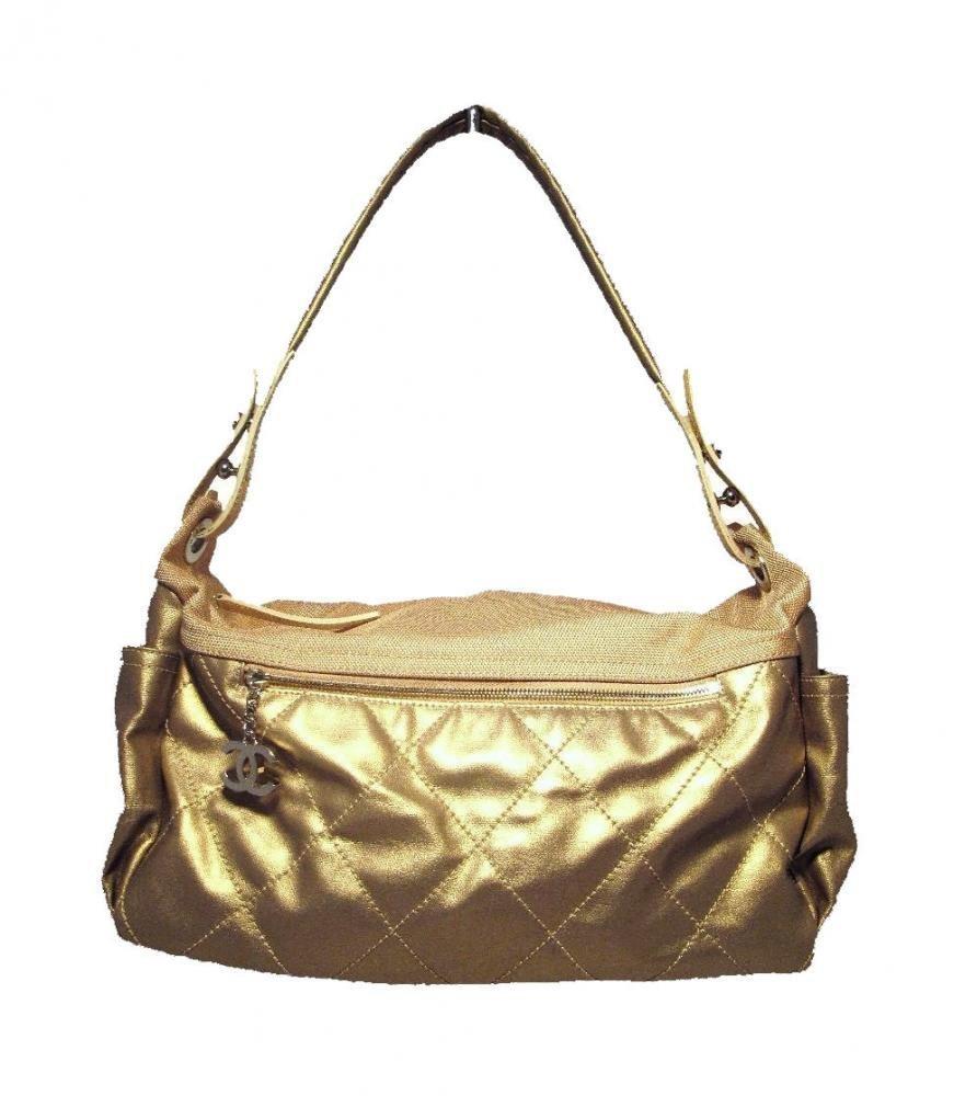 Chanel Metallic Gold Leather Shopper Tote Shoulder Bag