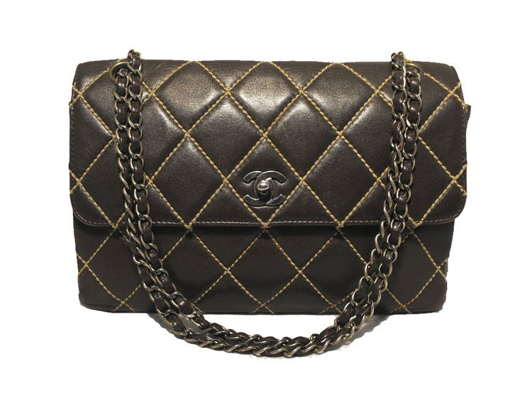 Chanel Brown Leather Maxi Flap Topstitch Classic