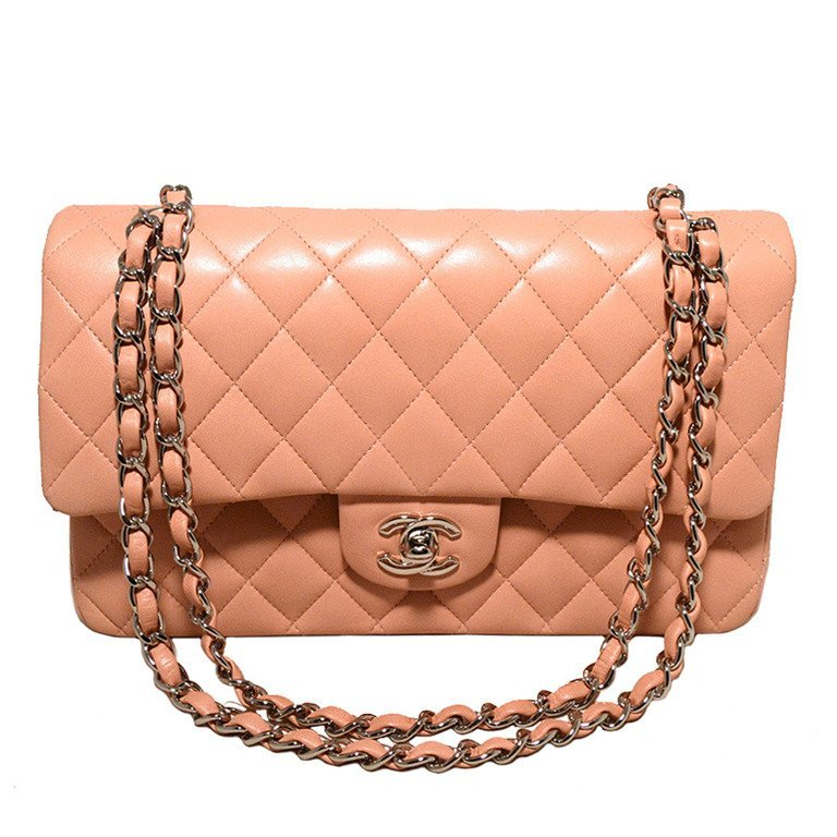 Chanel Nude Pink Lambskin Double Flap Classic 2.55
