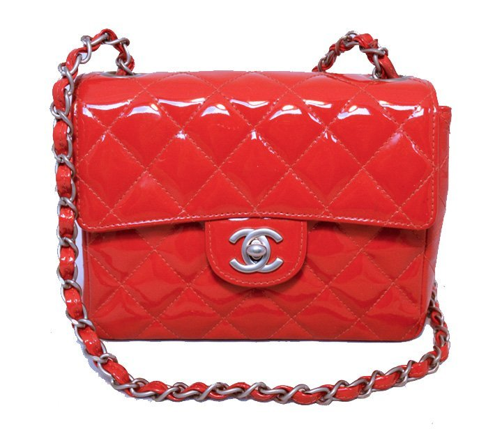 Chanel Red Patent Leather Mini Classic Flap Shoulder