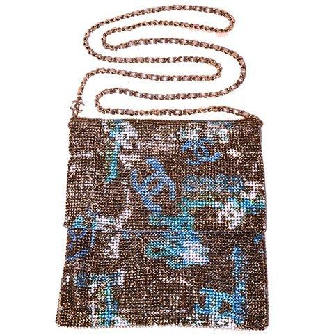 Chanel Rhinestone Chain Mail Crossbody Shoulder