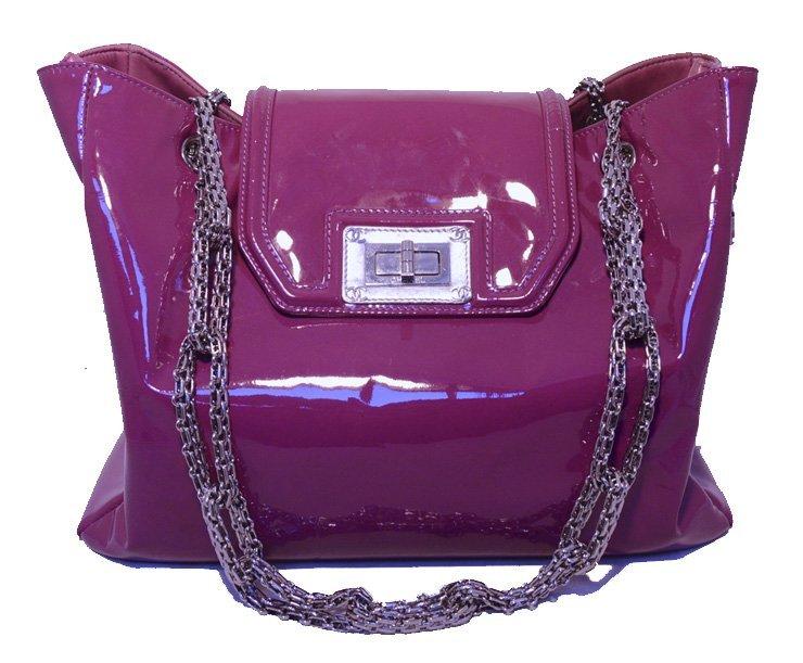 Chanel Purple Patent Leather Shoulder Bag Tote