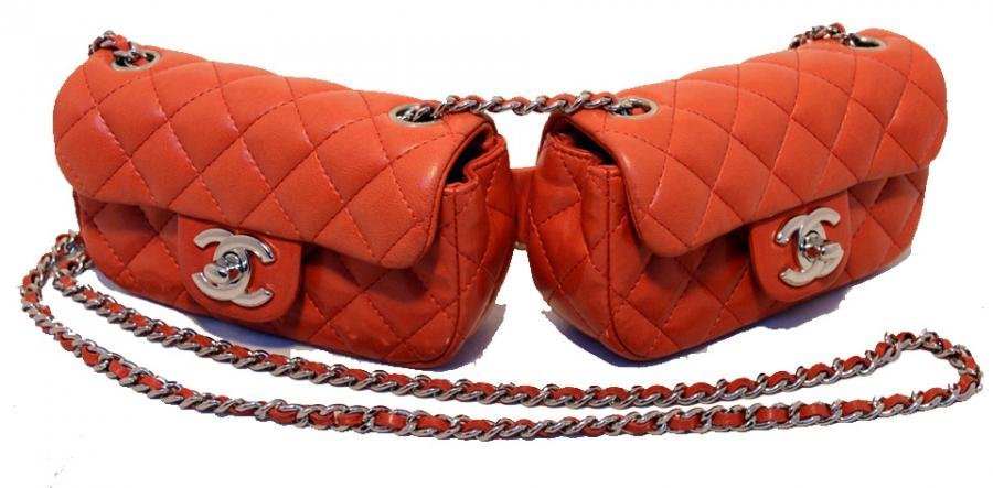 Chanel Twin Red Leather Double Mini Classic Crossbody