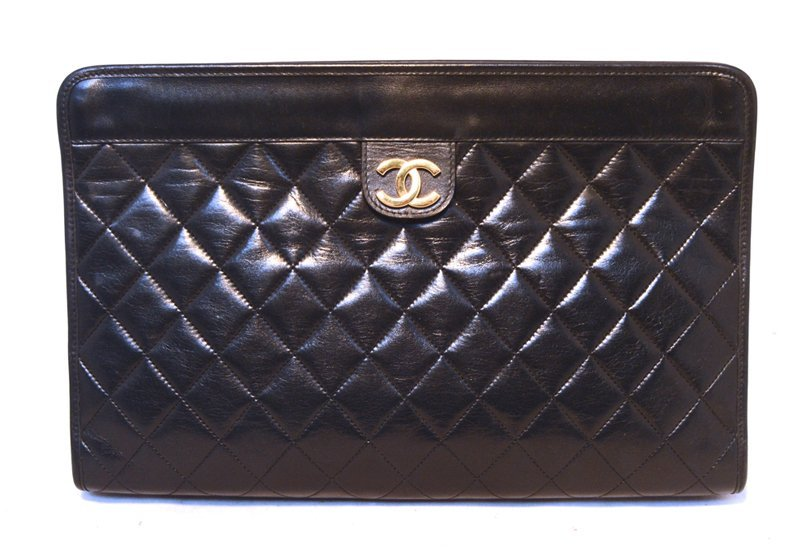 Chanel Black Quilted Lambskin Leather Clutch