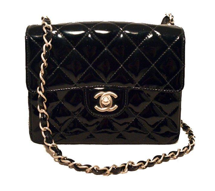 Chanel Black Patent Leather Mini Classic Flap Shoulder