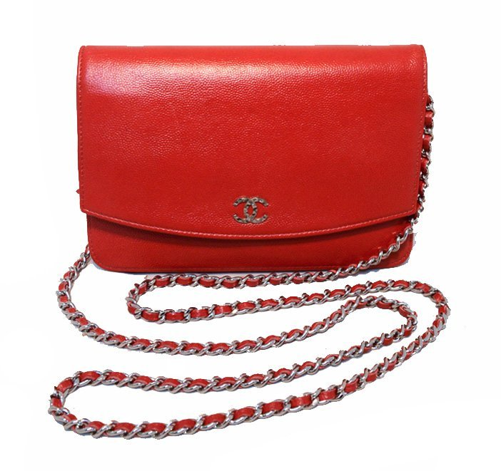 Chanel Red Caviar Wallet On A Chain Woc