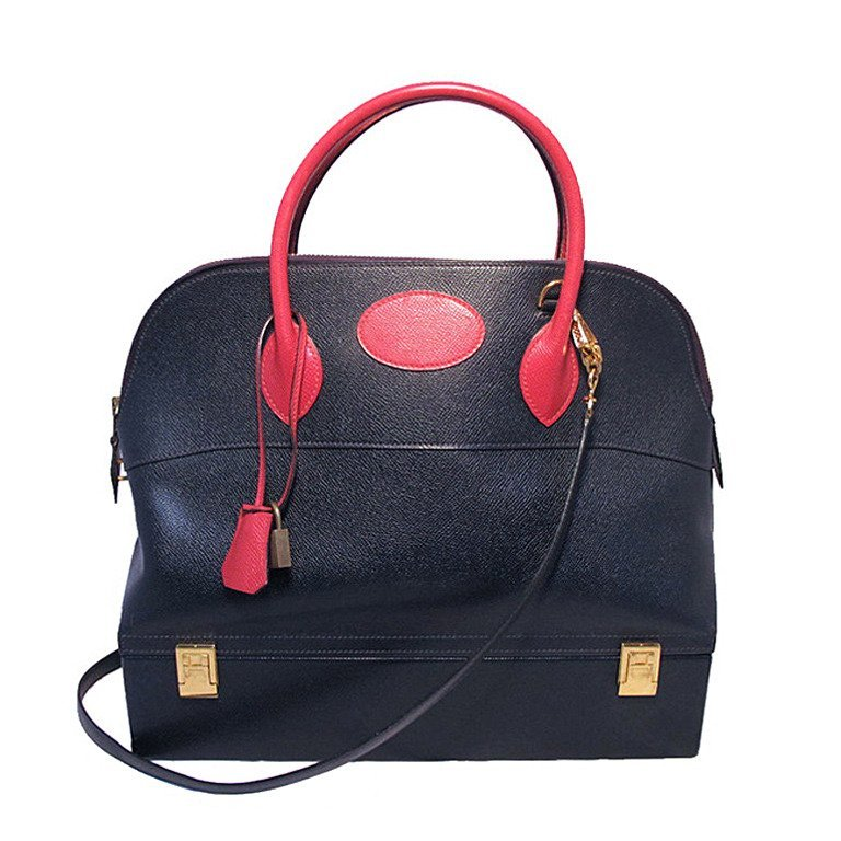Hermes Vintage Navy and Red Courchevel Macpherson