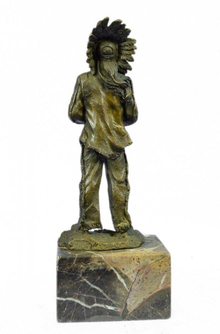 bronze on marble, Native American Shaman - 3
