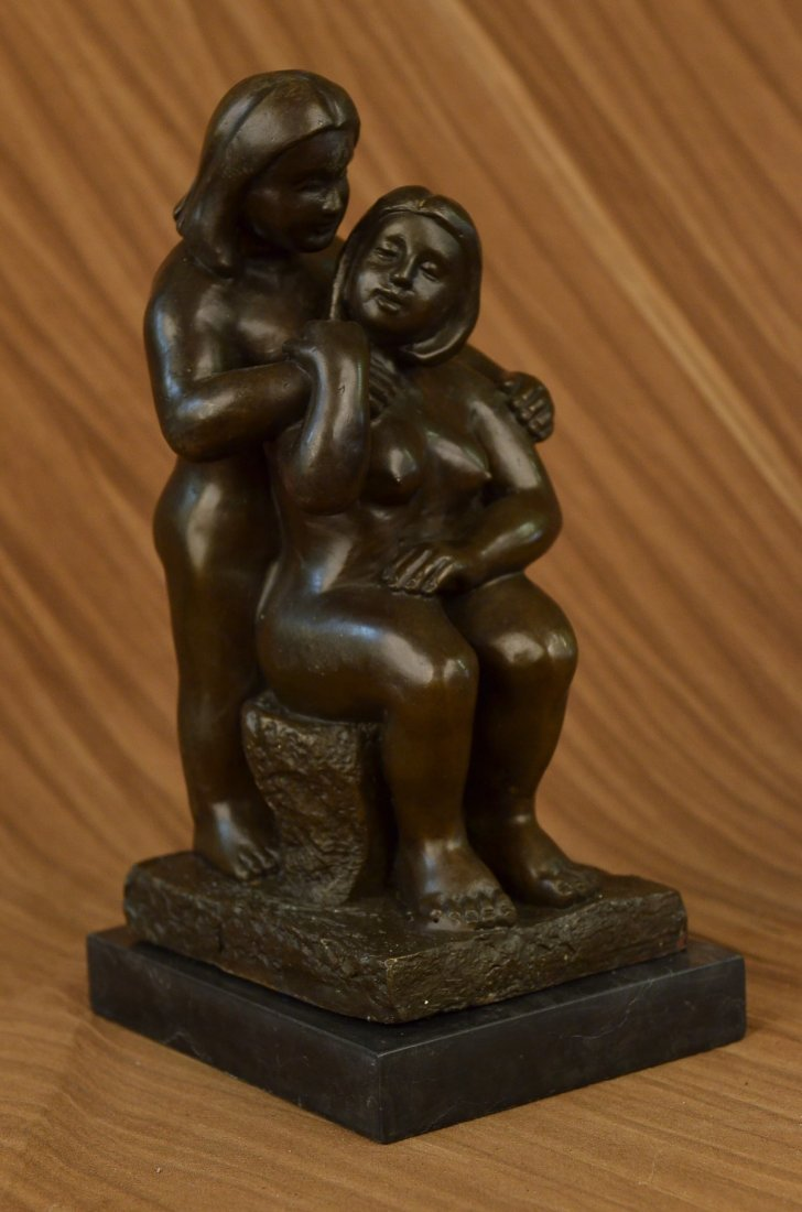 bronze on marble, Grown Lady with Young Girl