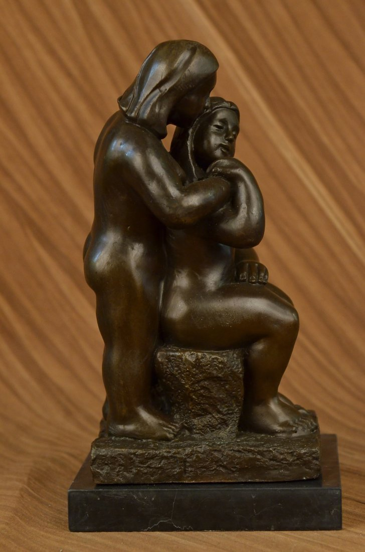 bronze on marble, Grown Lady with Young Girl - 2