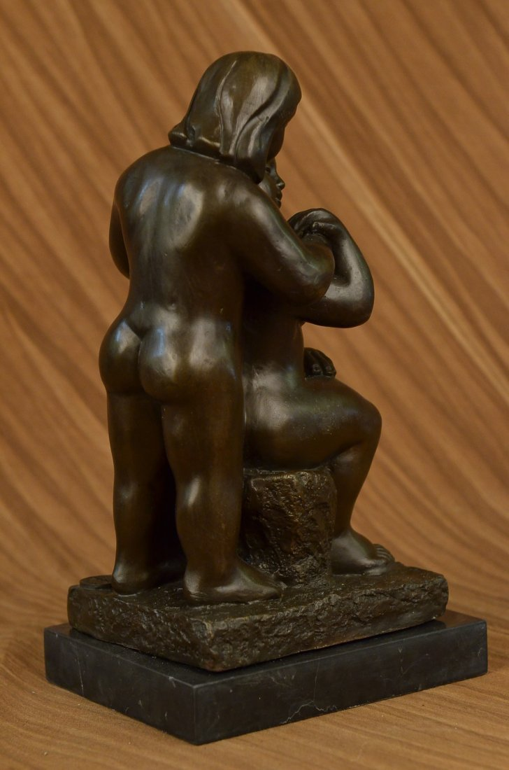 bronze on marble, Grown Lady with Young Girl - 3
