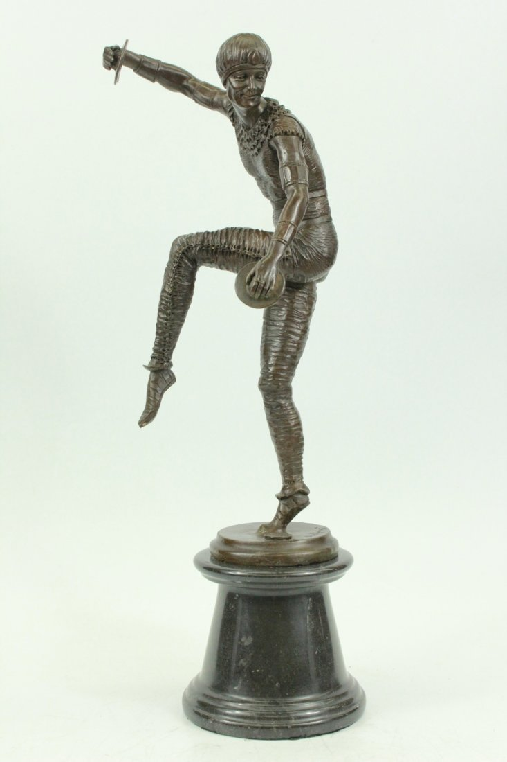 bronze on marble, Russian Tambourine Dancer