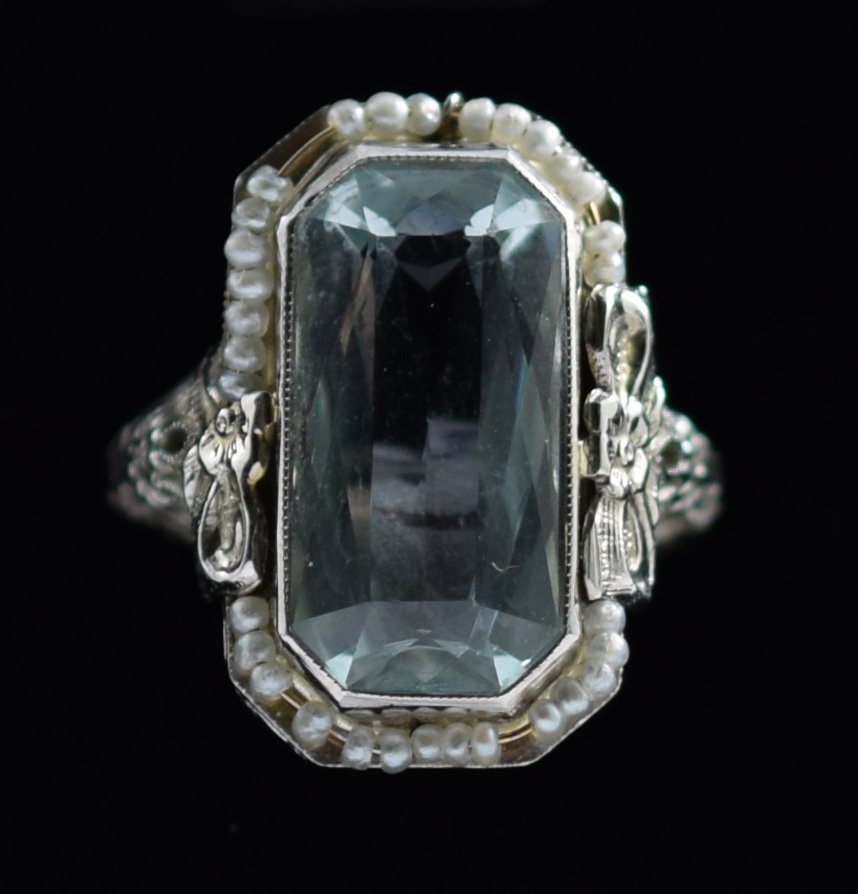 Aquamarine & Seed Pearl Ring