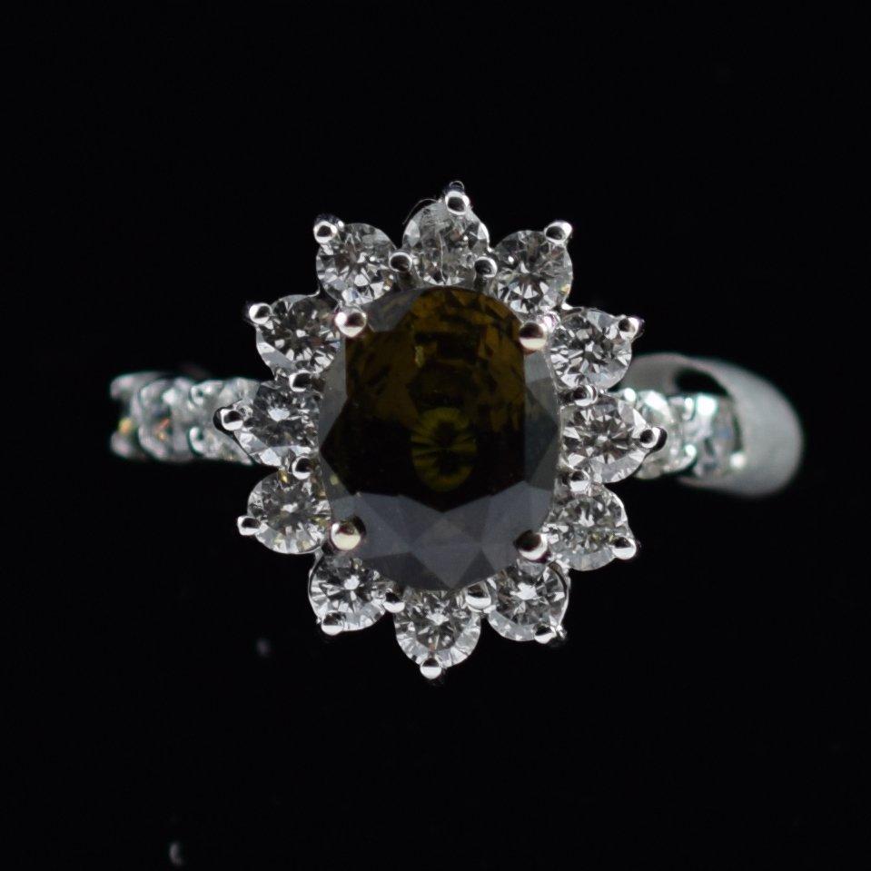 18K Gold Color Change Sapphire & Diamond Ring