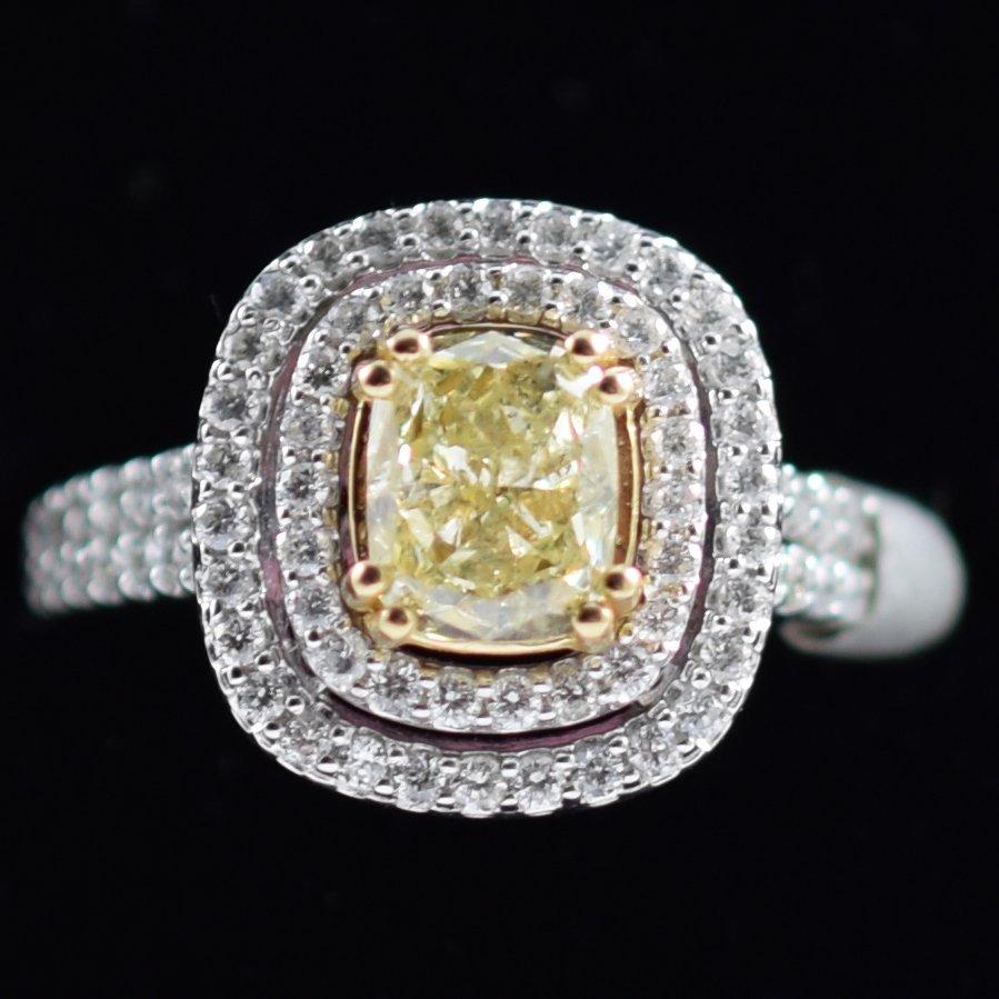 Fancy Color Diamond & Diamond Ring