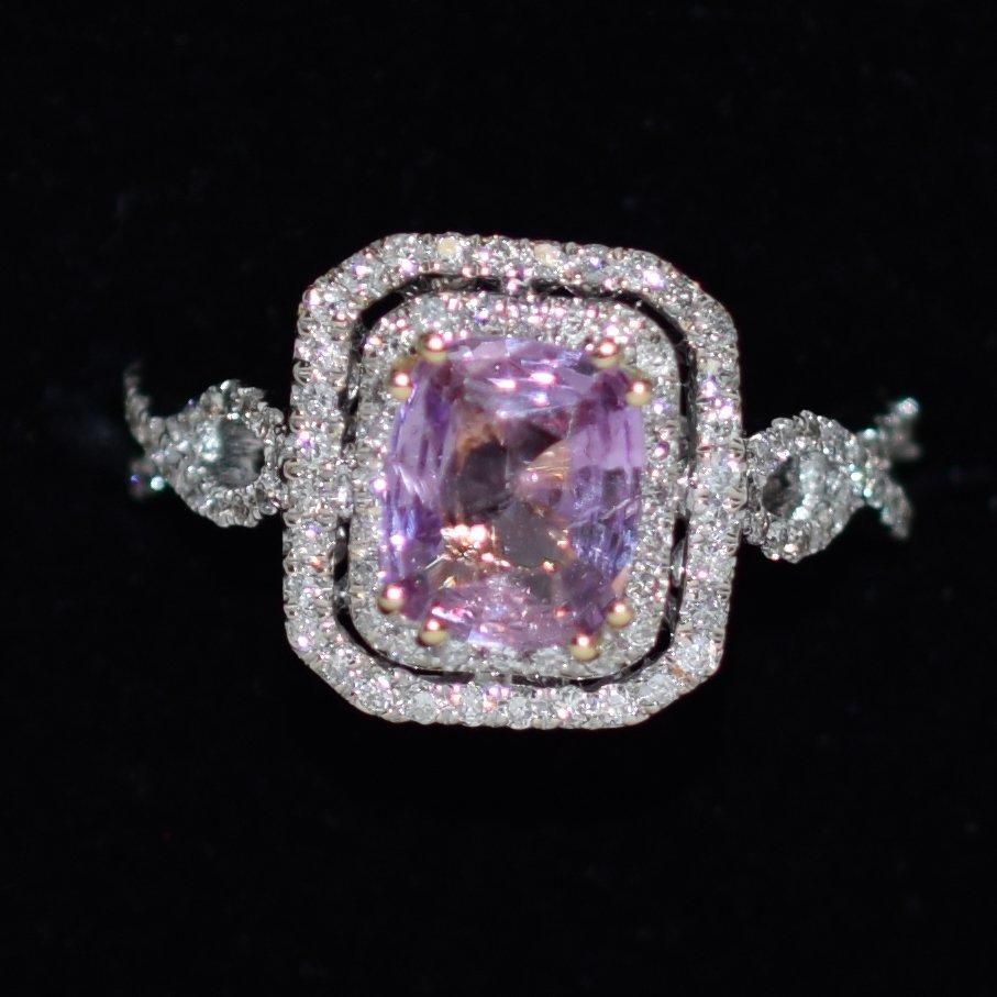 GIA Pink Sapphre & Diamond Ring