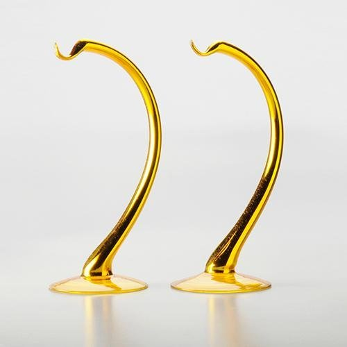 PAIR OF GOLD GLOBE STANDS