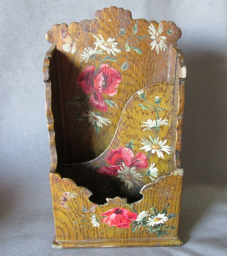 19thC Victorian Paper Mache Letter Holder with Roses
