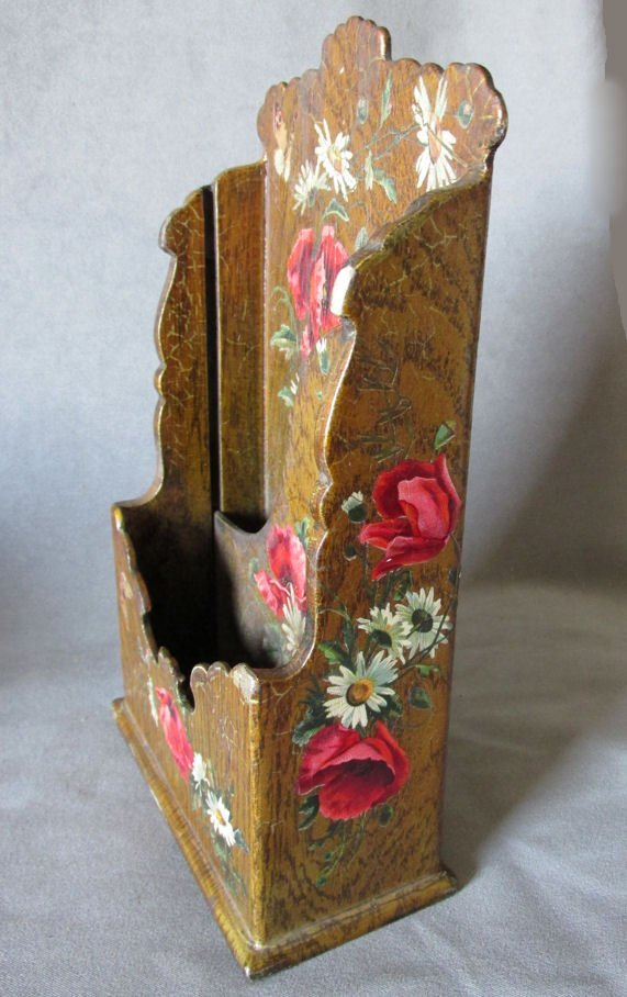 19thC Victorian Paper Mache Letter Holder with Roses - 2