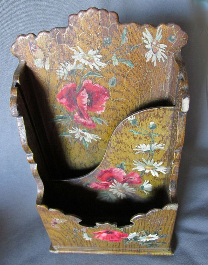 19thC Victorian Paper Mache Letter Holder with Roses - 3