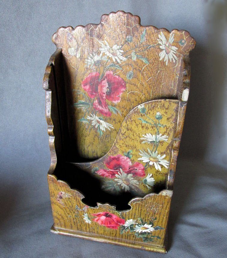 19thC Victorian Paper Mache Letter Holder with Roses - 5