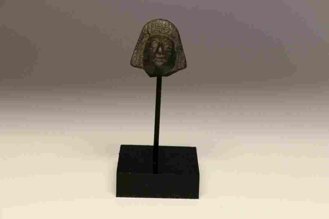 ROMAN BRONZE HEAD OF WOMAN APPLIQUE 1st - 3rd Century