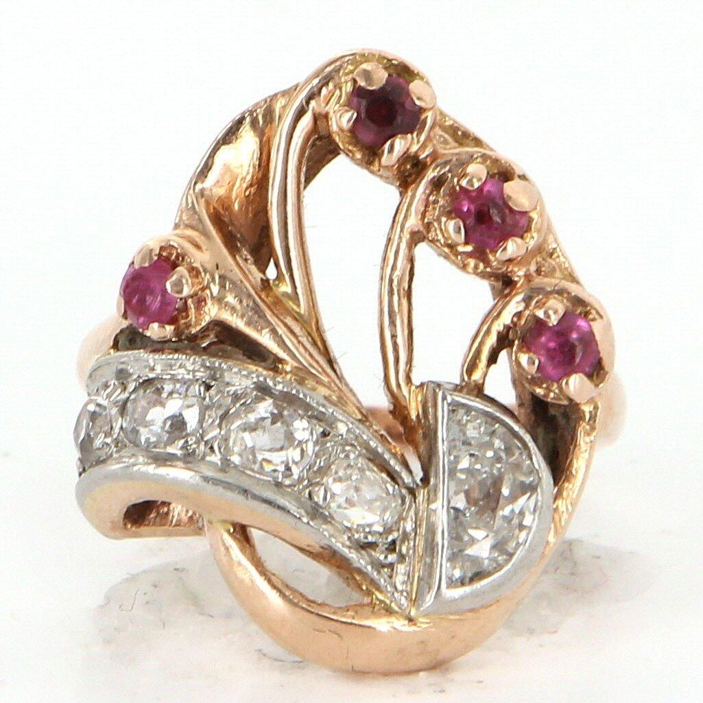 Antique Deco Retro 14k Gold Diamond Ruby Cocktail Ring