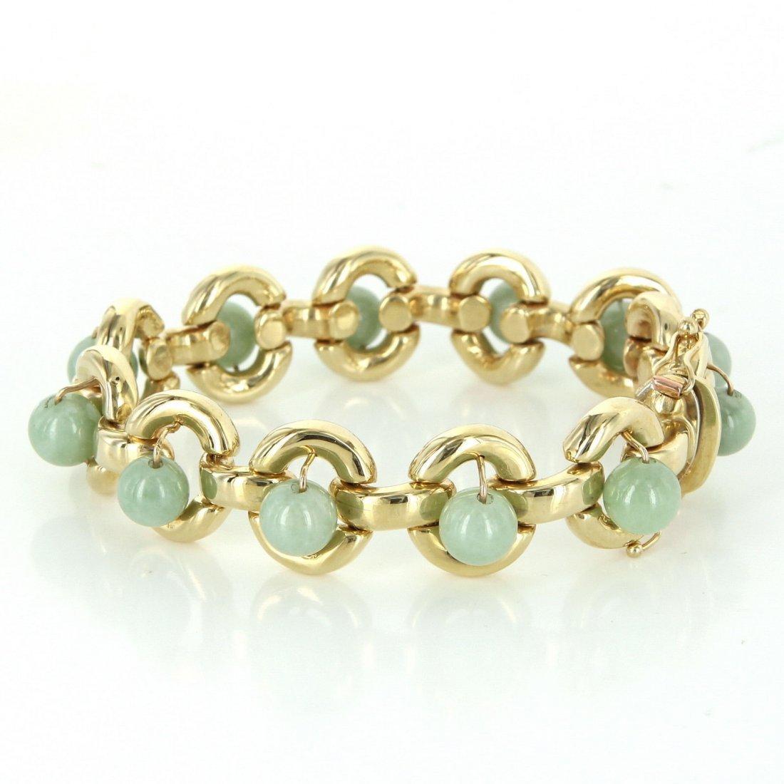 Vintage Jade Round Link Bracelet Heavy 14k Yellow Gold