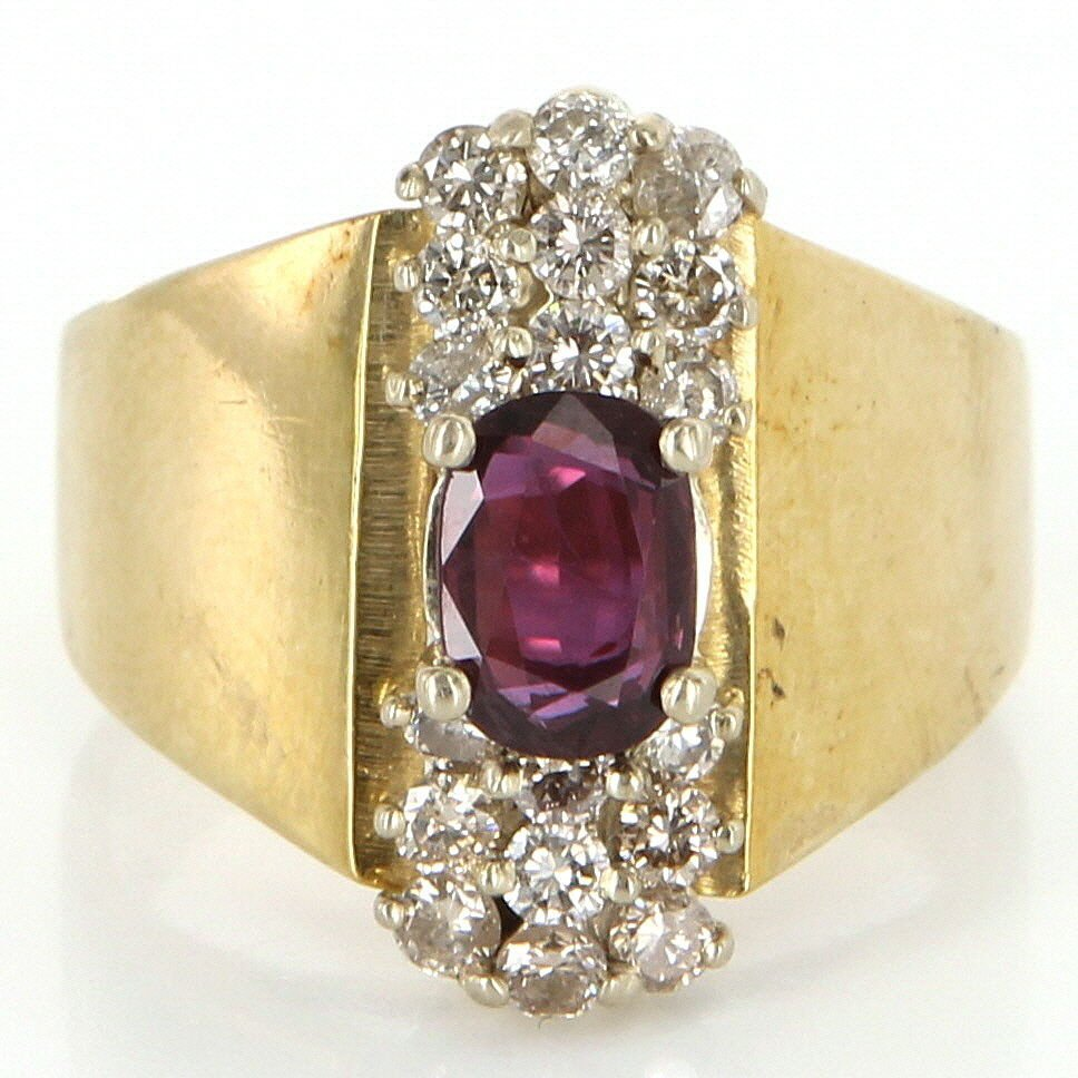 Vintage 14 Karat Yellow Gold Diamond Ruby Cocktail Ring