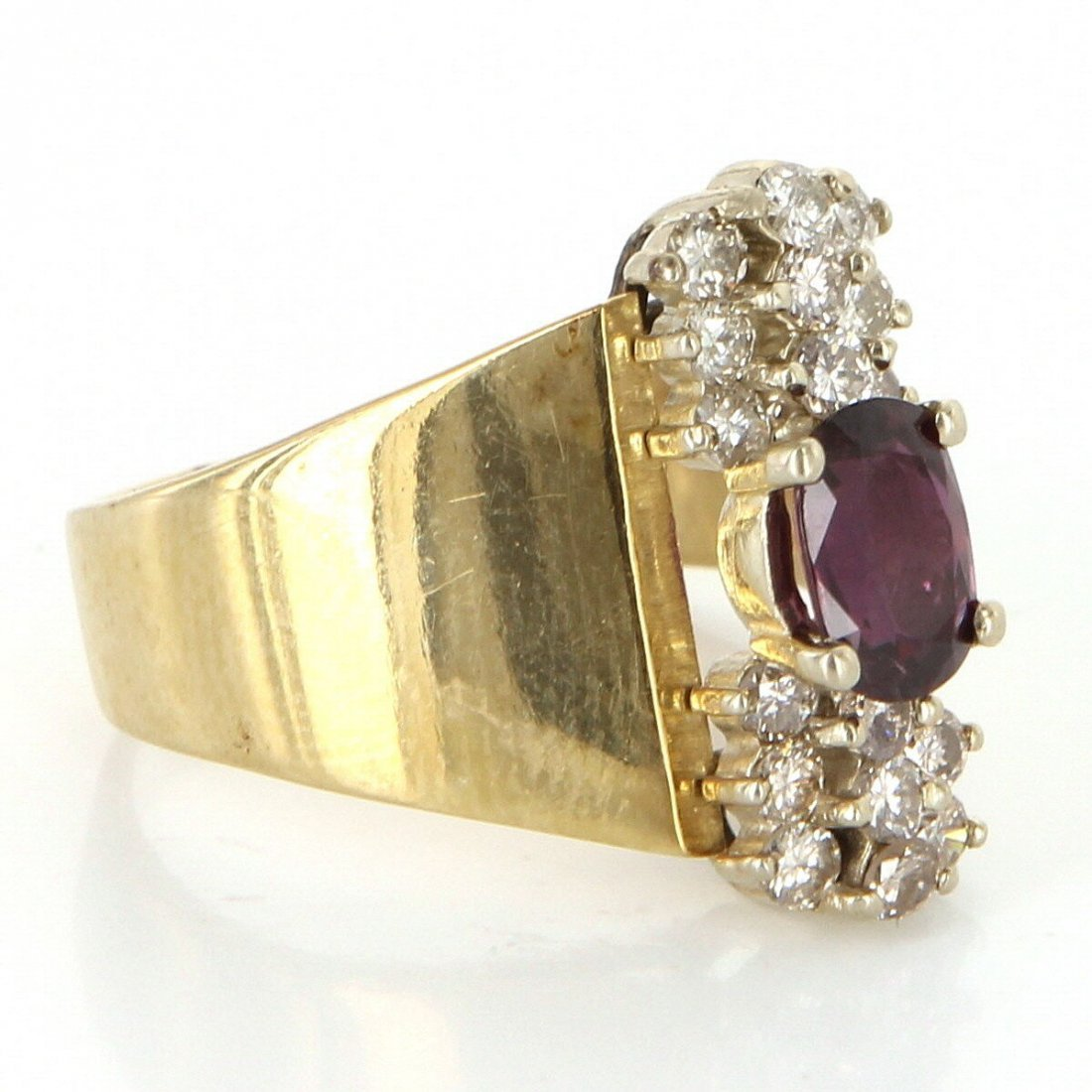 Vintage 14 Karat Yellow Gold Diamond Ruby Cocktail Ring - 2