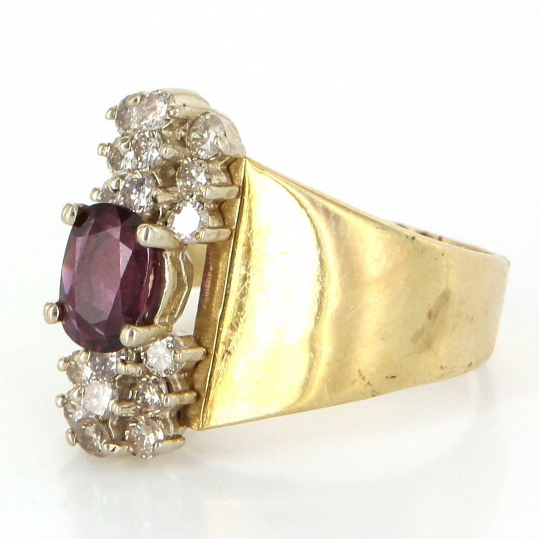 Vintage 14 Karat Yellow Gold Diamond Ruby Cocktail Ring - 3
