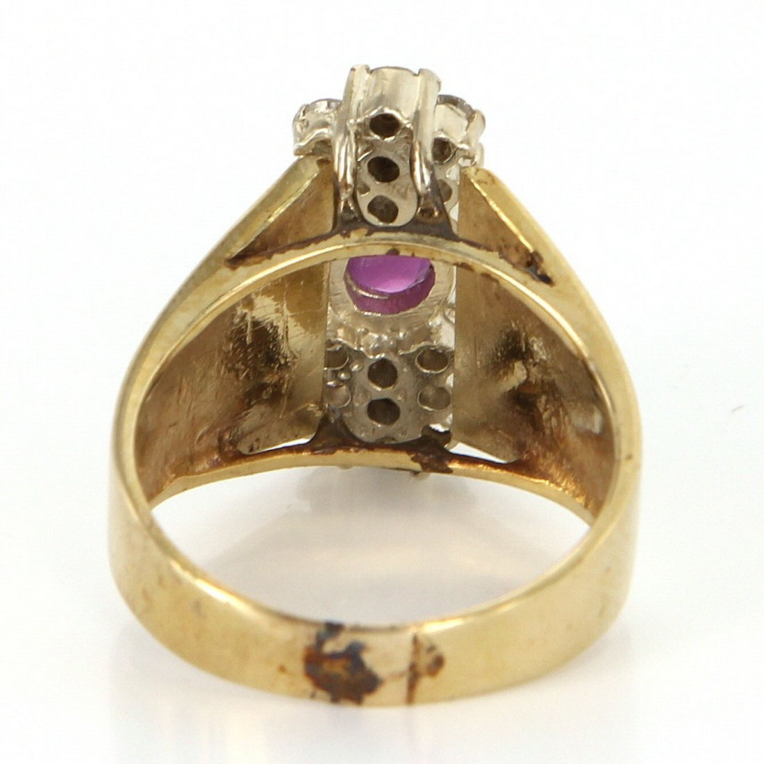 Vintage 14 Karat Yellow Gold Diamond Ruby Cocktail Ring - 4