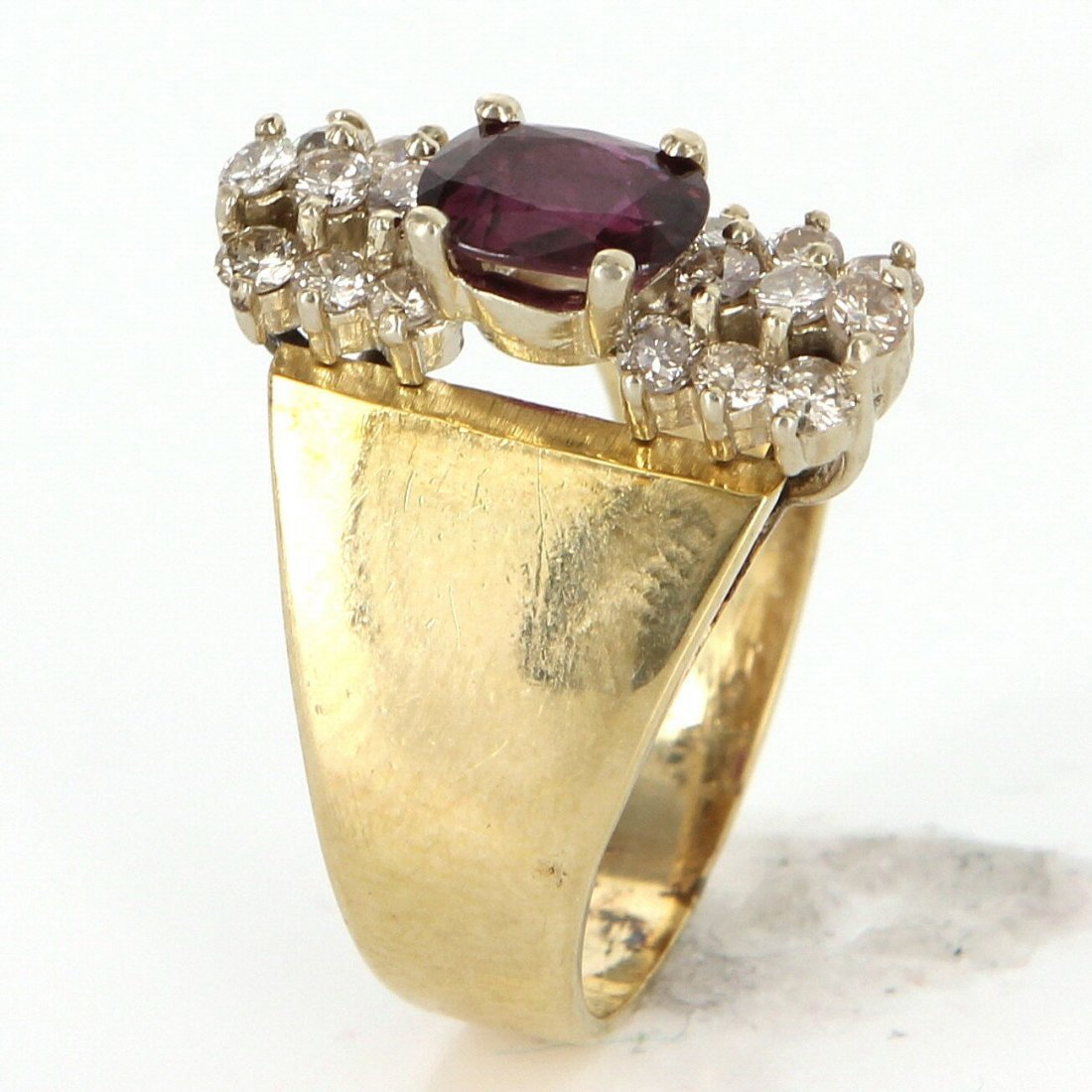 Vintage 14 Karat Yellow Gold Diamond Ruby Cocktail Ring - 5