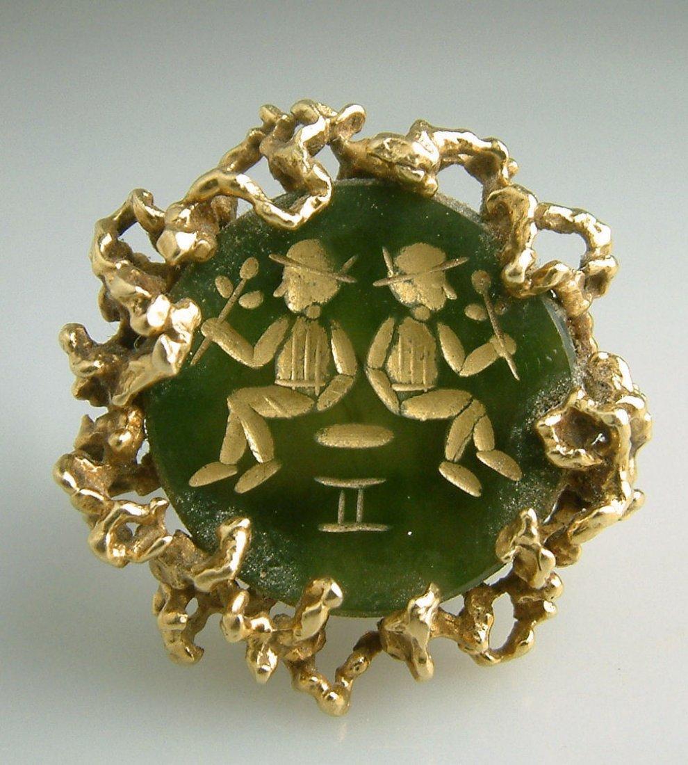 Vintage 14k Gold Gemini Nugget Figural Cocktail Ring