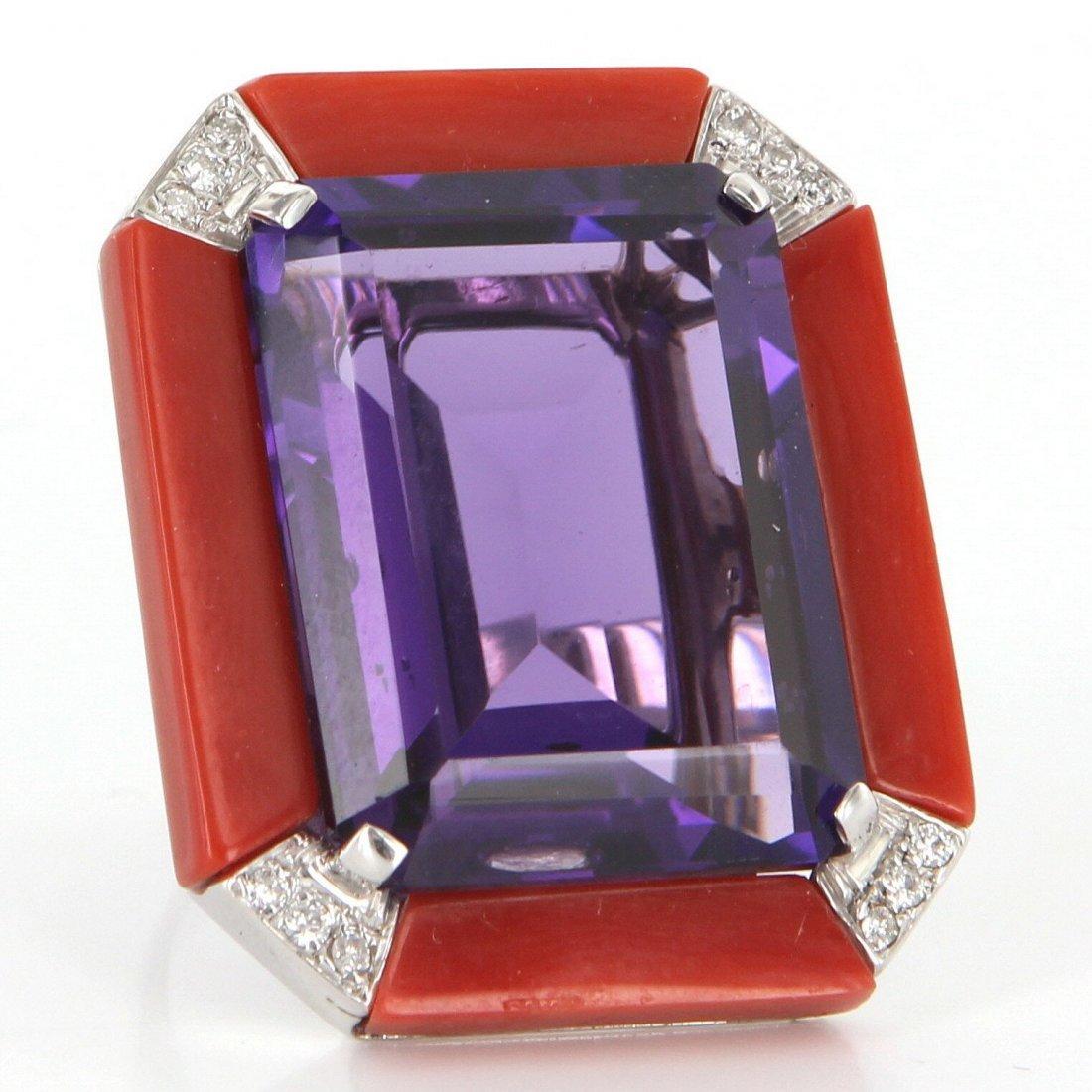 Vintage 18k White Gold Amethyst Red Coral Diamond Large