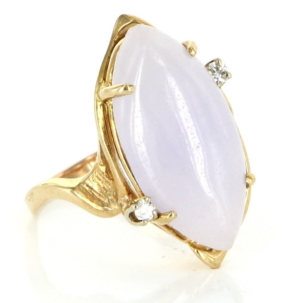 Vintage 14 Karat Yellow Gold Diamond Lavender Jade